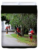 Camouflaged Leaf Blowers Working In Singapore Park Duvet Cover