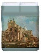 Campo Dei Santi Giovanni E Paolo And The Scuola Grande Di San Marco, Venice Oil On Canvas Duvet Cover