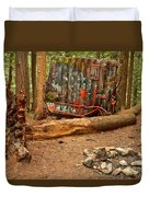 Campsite By The Box Car Duvet Cover