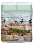 Canada Geese At The Lake Duvet Cover