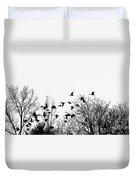 Canada Geese Flight Silhouette Duvet Cover