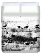 Canada Geese In Black And White Duvet Cover