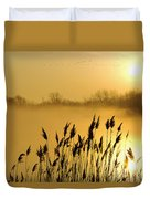 Canada Geese In Flight At Sunrise Duvet Cover