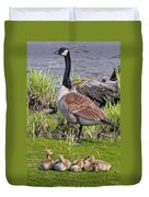 Canada Goose With Young Duvet Cover