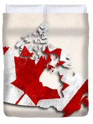 Canada Map Art With Flag Design Duvet Cover