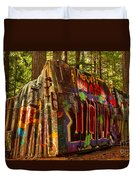 Canadian Box Car In The Forest Duvet Cover