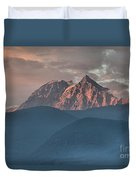 Canadian Coastal Mountains Sunset Duvet Cover