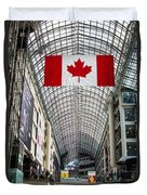 Canadian Flag Over Eaton Center Duvet Cover