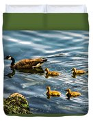 Canadian Goose And Goslings Duvet Cover