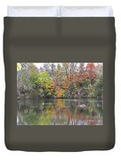 Canadian Goose Swimming Through The Autumn Reflections On The Pond Duvet Cover