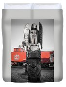 Canadian Totem And Railway Duvet Cover
