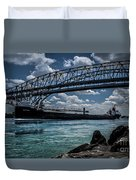 Canadian Tranfer Under Blue Water Bridges Duvet Cover