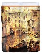 Canal And Docked Gondolas In Venice Duvet Cover