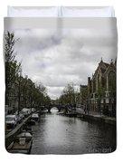 Canal Behind Oude Kerk In Amsterdam Duvet Cover