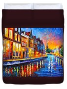 Canal In Amsterdam Duvet Cover
