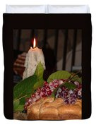 Candle And Grapes Duvet Cover by Marcia Socolik