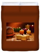 Candles Burning In A Spa  Duvet Cover