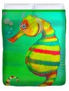 Candy Cane Seahorse Duvet Cover