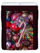 Candy Canes And Colorful Ornaments Duvet Cover