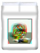 Candy Jar - Use Red-cyan Filtered 3d Glasses Duvet Cover