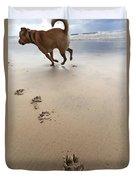Canine Beach Jogging Duvet Cover
