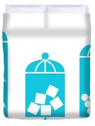 Canisters In Turquoise Duvet Cover