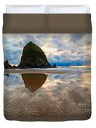 Cannon Beach With Storm Clouds In Oregon Coast Duvet Cover