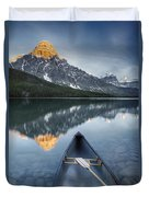 Canoe At Lower Waterfowl Lake With Duvet Cover