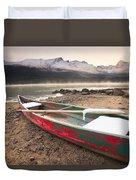 Canoe On Misty Fall Morning, Maligne Duvet Cover