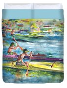 Canoe Race In Polynesia Duvet Cover