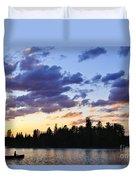 Canoeing At Sunset Duvet Cover