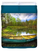 Canoeing At The Lake Duvet Cover