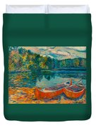 Canoes At Mountain Lake Duvet Cover