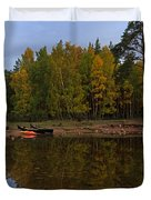Canoes On The Shore At Loch An Eilein Duvet Cover