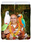 Can't Get Brighter Than This  Artist Navinjoshi In Hawaii Travel Vacations With Trained Parrots By P Duvet Cover