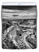 Canyon De Chelly Navajo Nation Chinle Arizona Black And White Duvet Cover