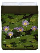 Cape Blue Water-lily Group Blooming Duvet Cover