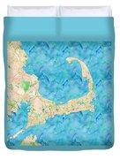Cape Cod Watercolor Map Duvet Cover