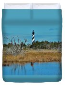 Cape Hatteras Lighthouse Deer In Pond 1 3/01 Duvet Cover
