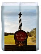 Cape Hatteras Lighthouse Happy Holiday 1 12/7 Duvet Cover