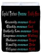 Capital Virtues Overcome Deadly Sins Duvet Cover