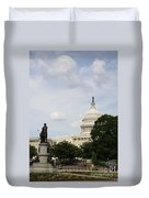 Capitol And Statue Washington Dc Duvet Cover
