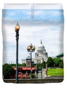 Capitol Building Seen From Waterplace Park Duvet Cover by Susan Savad