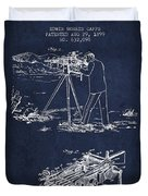 Capps Machine Gun Patent Drawing From 1899 - Navy Blue Duvet Cover