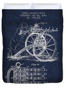 Capps Machine Gun Patent Drawing From 1902 - Navy Blue Duvet Cover