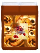 Cappuccino Abstract Collage Cherries Duvet Cover