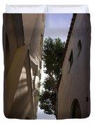 Capri - The Mediterranean Sun Painting Playful Shadows On Facades Duvet Cover