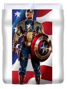 Captain America In Front Of Old Glory Duvet Cover