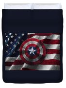 Captain America Shield On Usa Flag Duvet Cover