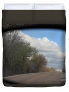 Car Mirror Landscape With Road And Sky. Duvet Cover